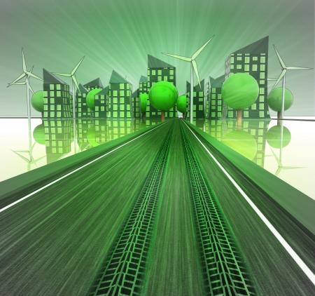 desarrollo sustentable: llantas de impresi�n en la autopista hacia ecol�gica ilustraci�n moderna ciudad