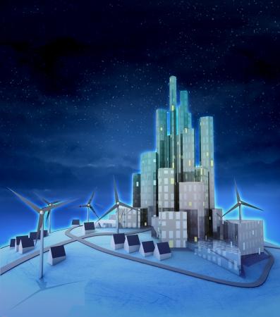 several windmills and  modern city night scene illustration illustration