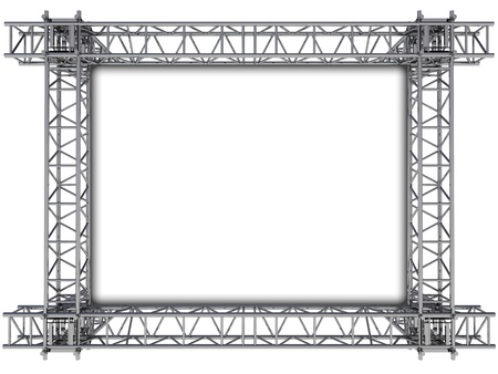 metal structure: iron rectangular construction frame for text illustration
