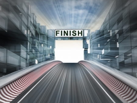 finishing line: race competition finish line in city background illustration