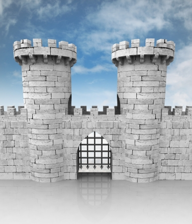 stoned: medieval stoned castle gate with towers and sky illustration Stock Photo