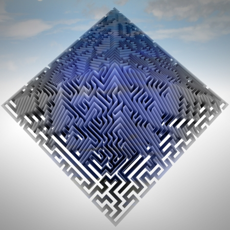pyramidal: blue pyramidal maze technological structure illustration