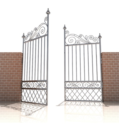 baroque gate: iron gate in strong brick wall on white background illustration