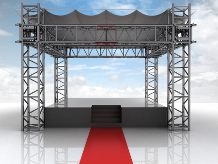 summer festival open air stage with red carpet illustration illustration