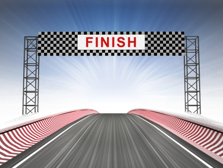 finishing line: racing finish line construction with text illustration