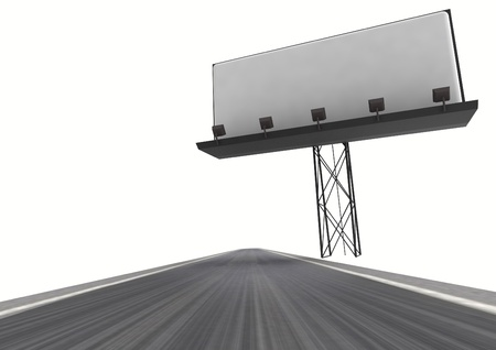afar: highway with writable area billboard isolated on white illustration