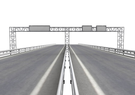 isolated highway with signpost on construction on white illustration illustration