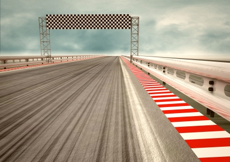 race track: race circuit finish line perspective with sky illustration Stock Photo