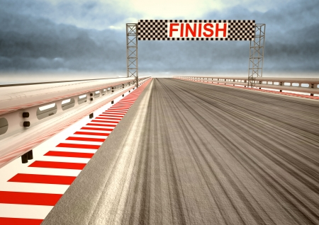 one vehicle: race circuit finish line perspective with dark sky illustration
