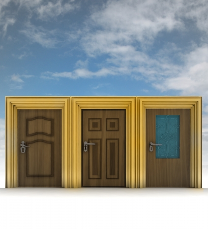 three closed wooden doors with sky illustration illustration