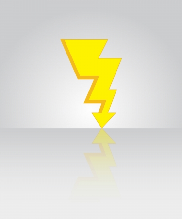 thunderbolt sign icon with floor reflection illustration Vector