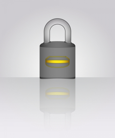 closed  padlock with floor reflection illustration Stock Vector - 19629902