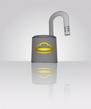 opened padlock with floor reflection illustration Stock Vector - 19629899