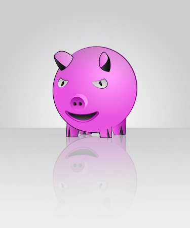 pink cute pig with floor reflection illustration Vector