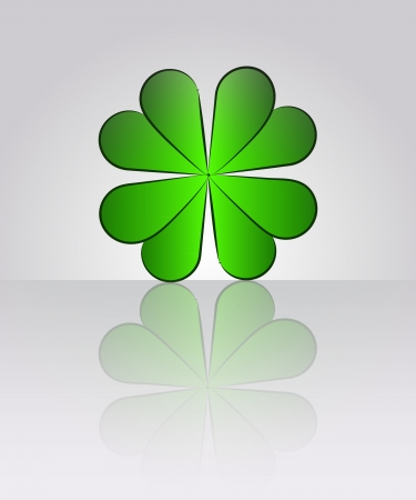 vector green cloverleaf with floor reflection illustration Vector