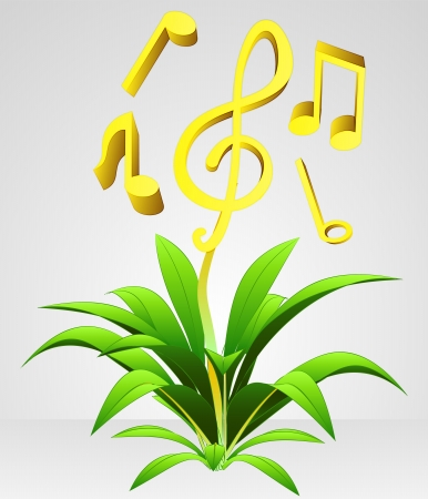 flying and growing music vector flower concept reflection Vector