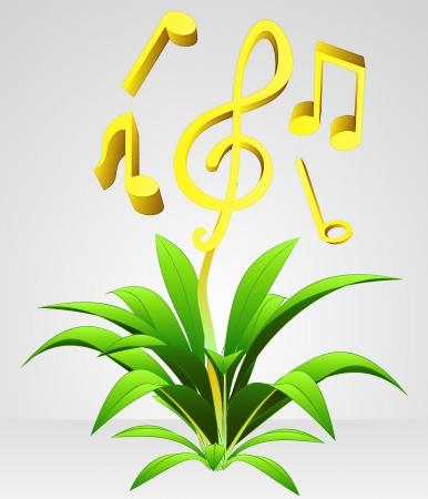 plants growing: volare e crescente musica vettore fiore concetto di riflessione Vettoriali