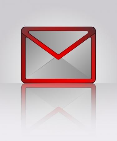 envelop: red warning vector red envelop with reflection illustration Illustration
