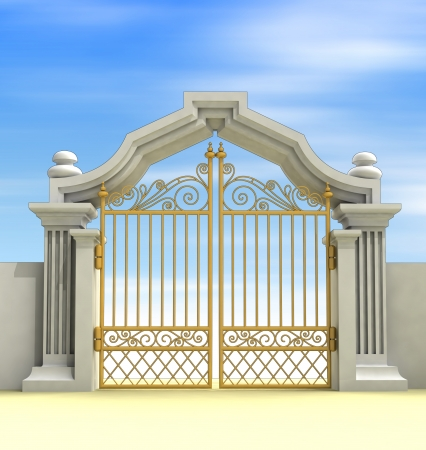 heavens gates: closed golden entrance with sky blur illustration