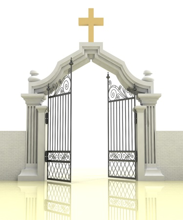 place of worship: ancient half opened entrance to christianity faith illustration