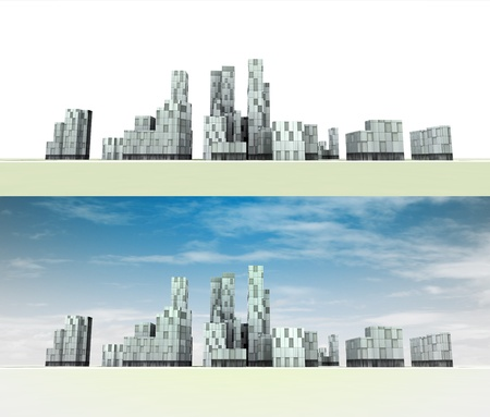 two general city panorama variants illustration