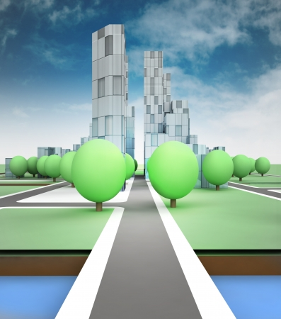 city road in office building and sky background illustration