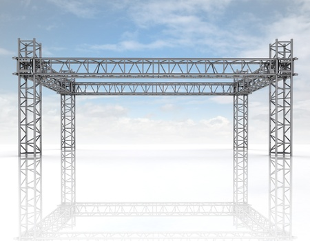 shiny blue framework construction with sky illustration illustration