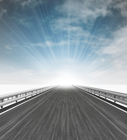 motorway straight view with flare in sky illustration illustration