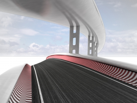viaduct: two race roads in sky background illustration