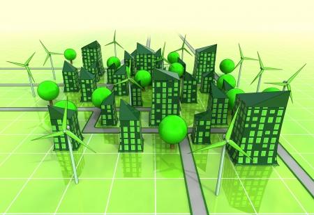 urban area: windmill powered urban area concept illustration Stock Photo