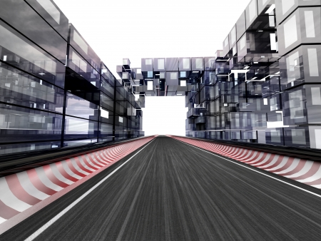 car race track: racetrack in bussiness city on white illustration Stock Photo