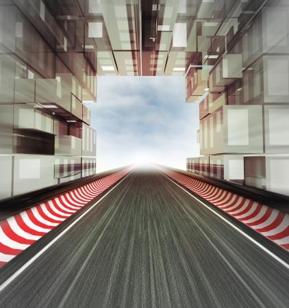 현대 도시 공간의 그림 경마장 게이트
