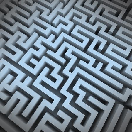 escape route: labyrinth blue light structure perspective upper view illustration