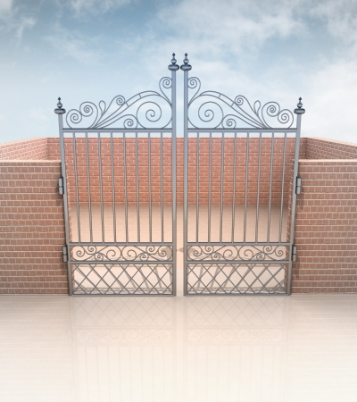 closed iron gate in quadrilateral brick wall illustration Stock Photo