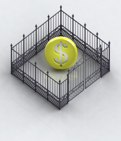 somebody: dollar coin in closed baroque fence concept illustration