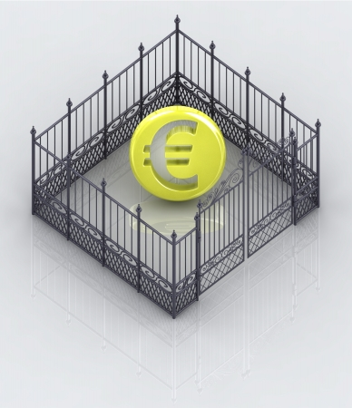 baroque gate: euro coin in closed baroque fence concept illustration