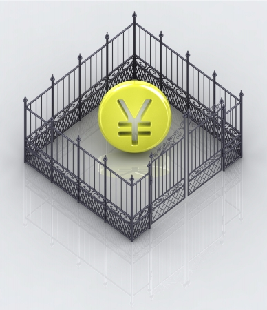 baroque gate: yen coin in closed baroque fence concept illustration Stock Photo