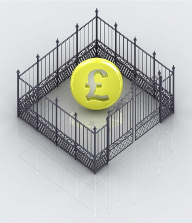 baroque gate: pound coin in closed baroque fence concept illustration