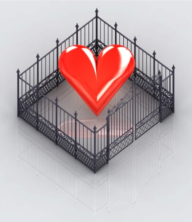 baroque gate: red heart fence protected concept illustration Stock Photo