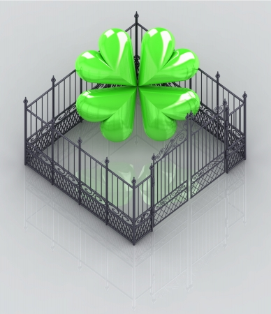 baroque gate: protect your happines in closed fence concept illustration Stock Photo