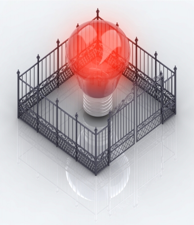 baroque gate: red bulb light in closed baroque fence concept illustration