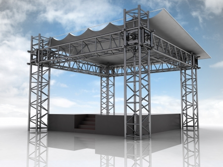 covered festival open air stage and blue sky illustration illustration