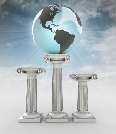 heaven on earth: america travel, earth globe on column in sky flare illustration