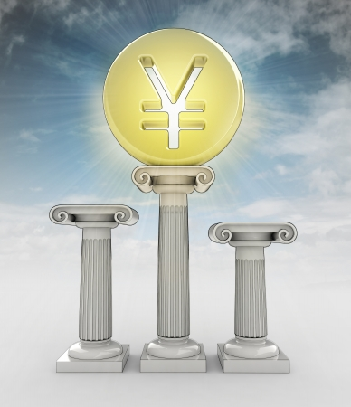 value money concept with yuan yen coin in sky flare illustration illustration