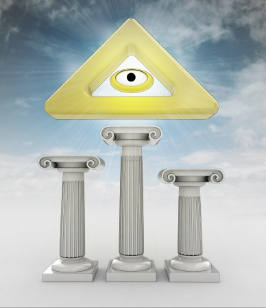 godness: religion concept with god eye sign in heaven illustration Stock Photo