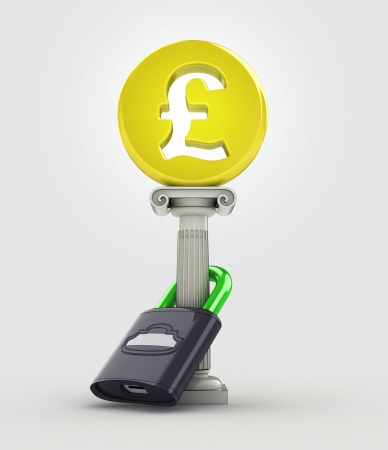 safe your money concept with pound coin illustration illustration