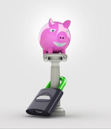 pillar box: safe your money concept with pig money box illustration Stock Photo