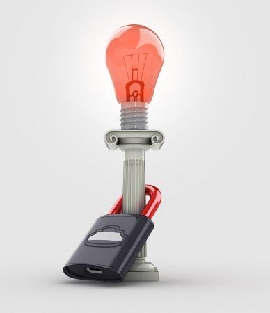 lighted: red lighted bulb warning concept illustration