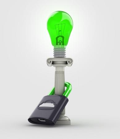 protect green energy lightbulb concept illustration illustration