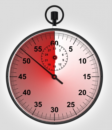 timescale: stopwatch front view with timescale in red  illustration